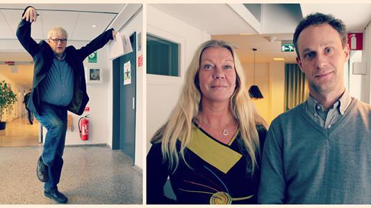 Jag och Henrik Dahlström pratar om nationalfågeln. Programledaren Nordegren härmar en fågel :-)